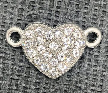 2 ring crystal heart connector - rhodium - 12mm heart